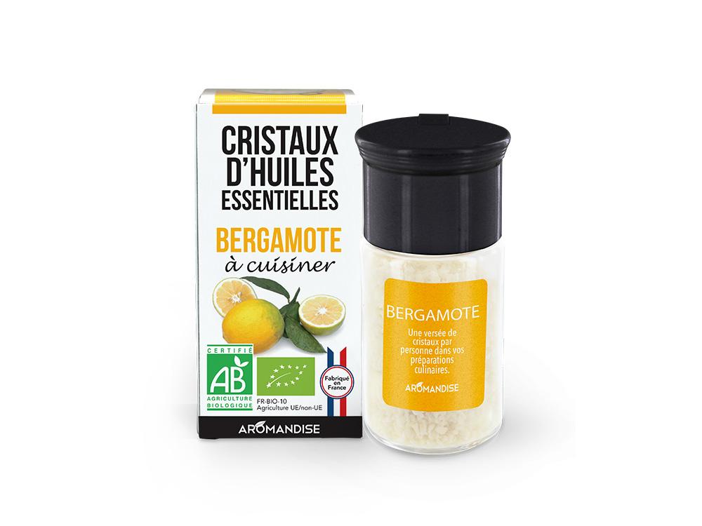 cristaux d'huiles essentielles bergamote bio