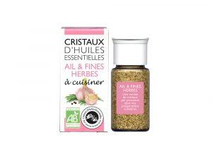 cristaux d'huiles essentielles ail et fines herbes