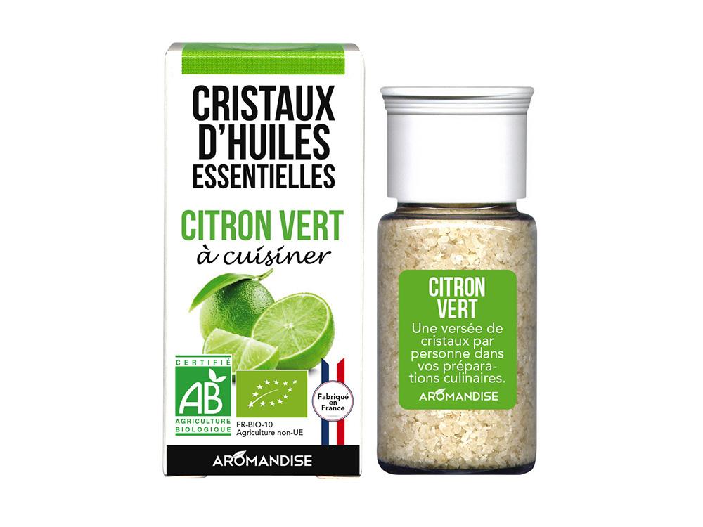 cristaux d'huiles essentielles de citron vert
