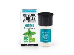 cristaux d'huile essentielle de menthe bio